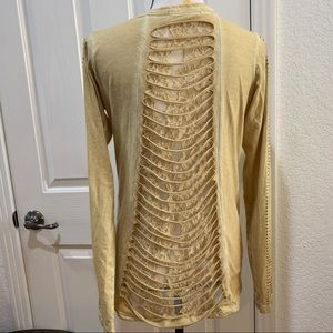 Cowgirl Tuff Long Sleeve Tee Lace Back Gold Small